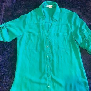 Express button down green shirt
